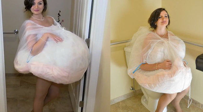 Így vécézhet menyasszonyi ruhában – fotók