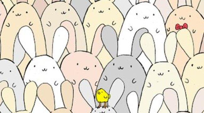 Találja meg a nyulak közé rejtett tojást!