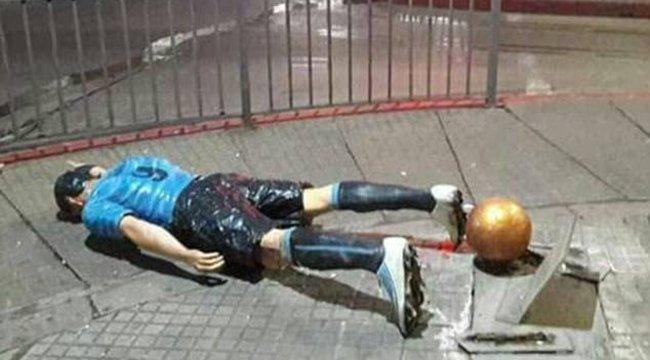 Meggyalázták a válogatott focista szobrát