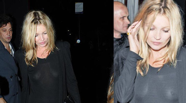 Kate Moss nyilvánosan mellbimbót villantott– fotó