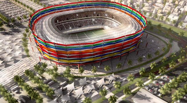 Éhbérért építtetik a katari focivárost