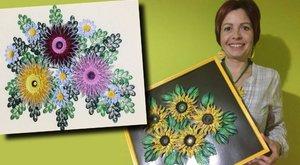 Papírból varázsol virágokat Berni