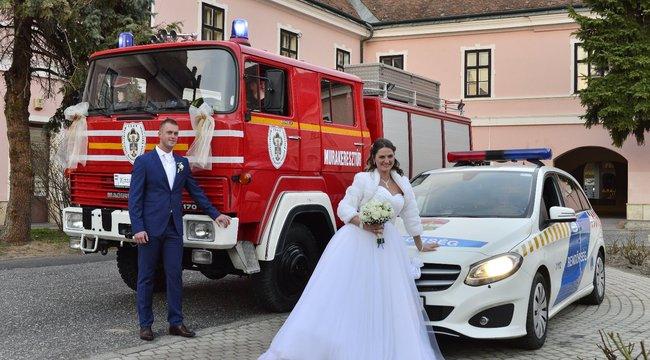 Nem mindennapi esküvő: elvette a nagykanizsai tűzoltó a rendőrt