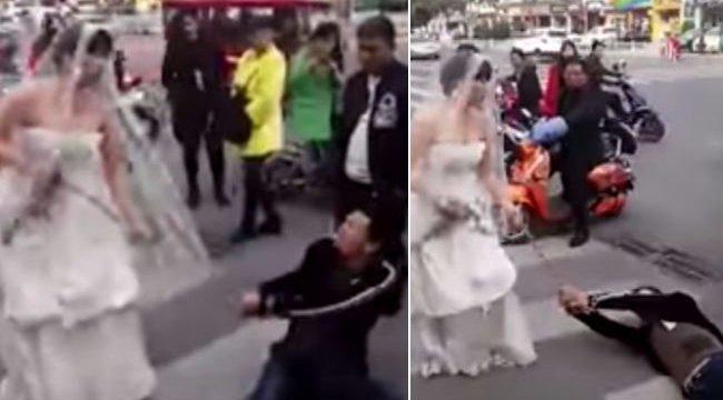Bizarr látvány: láncra verve vonszolta végig az utcán vőlegényét az ara - videó
