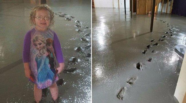 Hiányoztak a szülei, sípcsontig merült a betonba a kislány
