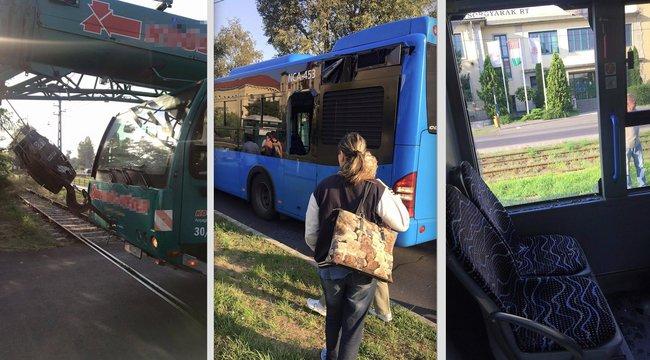 Daruskocsi törte ki a busz ablakát Kőbányán a sörgyárnál – képek