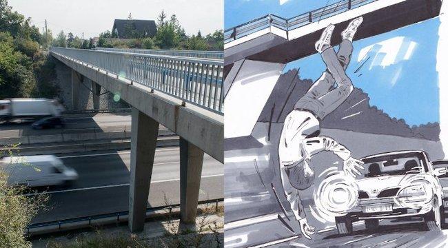 Száguldó kocsik közé vetette magát az M7-es hídjáról