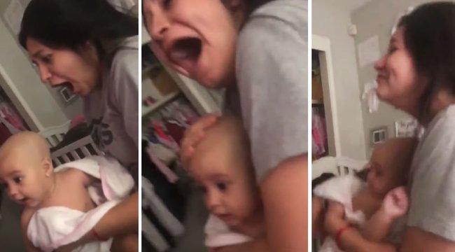 Anyu majdnem sokkot kapott, amikor apu kopaszra borotválta a kislányukat - videó