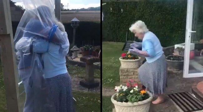Ölelőfüggönyt készített, hogy magához ölelhesse szeretett nagymamáját - videó