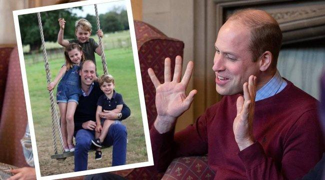 Fűben hempergett gyerekeivel Vilmos herceg - fotó
