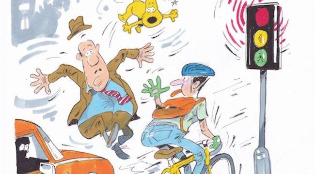 A zebrán nem ajánlott kerékpárral áthajtani