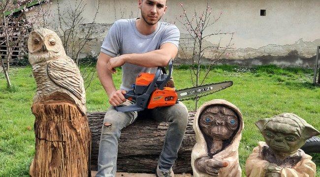 Láncfűrésszel faragja ki a gigantikuskerti Yodát a magyar művész